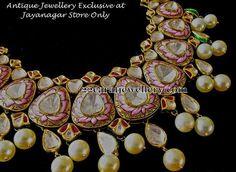 Jewellery Designs: Pink Enamel Finishing Polki Set