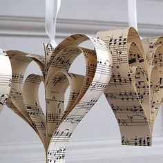 Hand made musical heart decorations