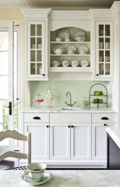 kitchens - Benjamin Moore - White Dove - white beadboard ceiling butler's pantry white cabinets marble countertops small square sink green beadboard backsplash