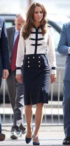 Kate Middleton in Alexander McQueen nautical-style blouse and wool skirt ..
