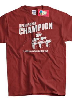 fa3848410b963 Beer Pong Champion Screen Printed T-Shirt Mens Ladies Womens Funny Geek  Booze Frat Party