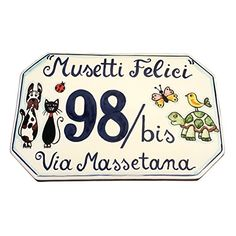 CERAMICHE D'ARTE PARRINI – Italian Ceramic Art Pottery Tile Custom House Number Civic Address Plaques Hand Painted Decorated Animals Made in ITALY Tuscan