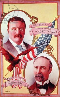 POLITICS: Teddy Roosevelt  1904 presidential campaign poster