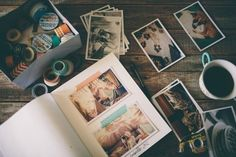 washi tape, photos, one or two words. Washi tape on part. Diy Album Photo, Diy Photo, Photo Book, Photo Ideas, Bujo Inspiration, Journal Inspiration, Journal Ideas, Jm Barrie, Scrapbooking