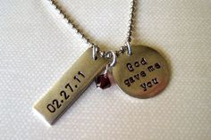 God gave me you hand stamped necklace personalized wedding date or child's birthdate with pearl or birthstone