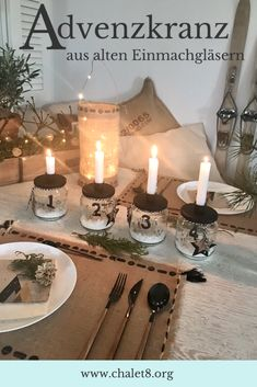 DIY: Adventskranz basteln . Ausgefallene Adventskranz Idee ohne Tanne mit alten Einmachgläsern für einen kuscheligen Advent und Winter. Skandinavischen Adventskranz selber machen aus Gläsern. Zero Waste. #chalet8 #adventskranz #advent #selbermachen #zerowaste Diy Upcycling, Survival Blanket, Starchy Foods, Best Oatmeal, Steak And Eggs, Organic Sugar, Dinner Is Served, Protein Foods, Base Foods