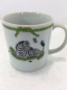 Lynn Chase Jungle Party 6oz  Coffee Mug Cup Elephant Zebra Frog Tea Vintage 1988 #LynnChase