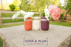 Shabby Chic Painted Mason Jars Coral Plum White Wedding Centerpieces Baby Bridal Shower Country Wedding Home Decor on Etsy, $15.00