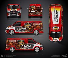 The approved branding wrap design project for the Fenix Racing drift team Vehicle Signage, Commercial Van, Van Wrap, Vehicle Wraps, Vw T5, Truck Design, Car Advertising, Asd, Custom Cars