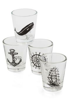 Take a Swig, Mate Shot Glass Set. Pour another round for you and your mates into these nautical-themed shot glasses! #multi #modcloth