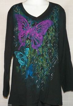 Size 5X 30w-32w JMS Black Blouse Shirt Butterfly Graphics New