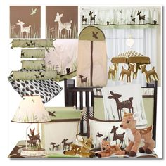 Deer Theme Nursery ~~ Willow Organic by eyesondesign on Polyvore featuring interior, interiors, interior design, home, home decor, interior decorating, KidsLine, Coordinates Collection, Skip Hop and Frolick