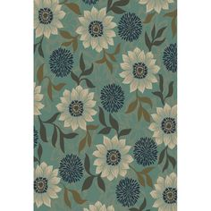 Shop Oriental Weavers of America Cumberland 9-ft 10-in x 12-ft 9-in Rectangular Blue Floral Area Rug at Lowes.com