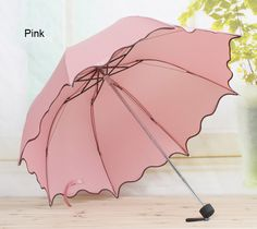 b63f309d7a9af Solid color Women Compact Three Folding Rain umbrellas ravel Strong Frame  Umbrellas for girl rainy sunny day outdoor activity - Alternative Measures  - F - 2