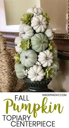 Try my Stunning Fall Pumpkin Topiary Centerpiece project for your decor this year. Topiary Centerpieces, Pumpkin Centerpieces, Pumpkin Topiary, Pumpkin Tree, Green Pumpkin, Fall Home Decor, Holiday Decor, Fall Arrangements, Harvest Decorations