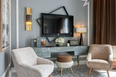 <p>This new hotel features a very Parisian atmosphere in a sophisticated palette imagined by decorator Jean-Louis Deniot. Part of the Evok…