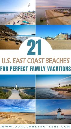 Inspirational ideas for beach locations on the East Coast USA. Take your pick from remote and beautiful National Parks and State Park beaches, to beach towns made for tourism and easy access. See the golden hues of sunrise and admire the endless sandy dunes and fairytale lighthouses at this top selection of East Coast beaches perfect for family vacations | Family vacation ideas | beast beaches for families | family vacations | beach vacation | Our Globetrotters Family Travel Blog Best Family Beaches, Family Vacations, Family Travel, East Coast Beaches, East Coast Usa, Beach Town, Lighthouses, Travel Advice, Easy Access