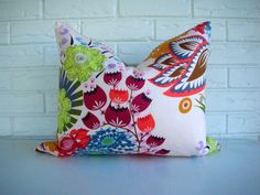 Decorative Throw Pillow Lumbar - Colorful Summer Floral Print - Red Ticking Jute Webbing - Pale Pink Blue Coral - Boho Cottage Chic 16x20