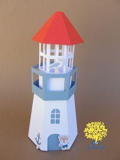 Caixa modelo farol produzida em papel 180gr, ideal para colocar balas, doces, bombons, entre outros.    Medida da caixa que comporta os doces: 8,5 largura x 8,5 altura    Altura do farol : 22,2 cm