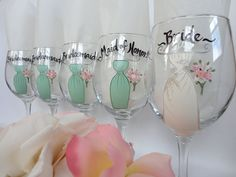 Personalized Hand Painted Bridesmaid Dress Glasses ~ party ideas for a country wedding