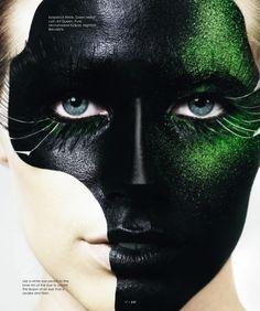 Maquiagem Artística incrível   Amazing Artistic Makeup. Black and green.