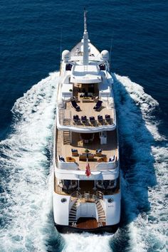 Yacht cruising the sea, with the aerial view you can clearly see the three levels of the ship.  Ready to go!  Go to www.YourTravelVideos.com or just click on photo for home videos and much more on sites like this.