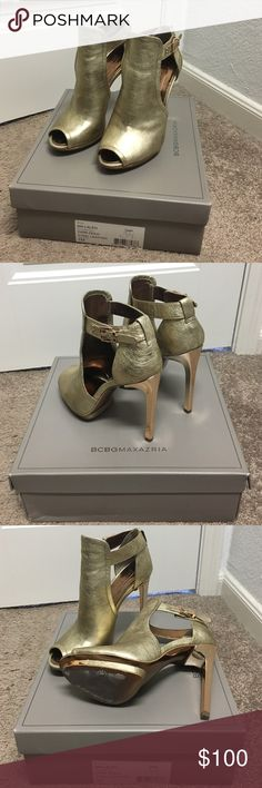 """BCBG MaxAzria Gold Leather Bootie BCBG gold open-toe bootie. 4"""" heel, on 1/2"""" platform. Very comfortable. Only worn once to work, excellent condition. Size 7, fits 7-7.5. BCBGMaxAzria Shoes Heels"""