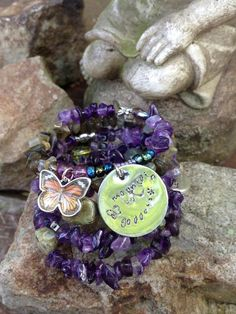 Mountain Goddess: five wrap memory wire beaded bracelet with metal stamped charm on Etsy, $45.00