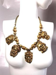 Vintage RARE Book Piece Joseff of Hollywood Turban Heads Charms Necklace   eBay