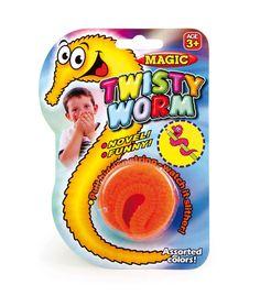 Set van 6. Wie kent hem nog? De pluche worm, die zich schijnbaar zelfs kan bewegen. Maar bij nader inzien begrijpt men, dat hij aan een transparant touwtje hangt en zich ogenschijnlijk door magische kracht door handen of voorwerpen laat trekken.