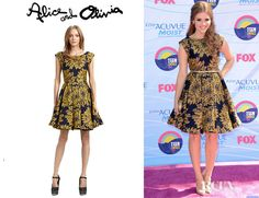 Holland Roden's Alice + Olivia Reese Flared Box Pleat Dress