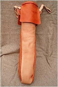 """Quiver Custom model in the quiver found at Hedeby. From the book """"Reports on excavation Hedeby"""", Report 21:  """"The leather is Hedeby"""" by Willy Groenman-Van Waateringe"""
