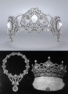Tiara commissioned by Archduchess Marie Valerie as a wedding present (?) for her daughter Archduchess Elisabeth Franziska of Austria, who married Georg Graf von Waldburg zu Zeil und Hohenems in 1912. Note the cased wedding present form is the one with upright pearls, more elements (5 in total), set on a base diamond bendeau. Convertible to pendant and brooches. Above is the smaller version of 3 elements without uprights or band