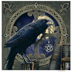 "BIG Magick happening here: Got the Full Moon? Check! Got the Pentacle Necklace? Check! Got the Spell Binding Books? Check!! Got the Celtic Wisdom? Check!! Got Corvidae.....? YES!! ""Raven Pentacle"" by Lisa Parker"