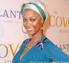 Tyra Banks in a beautiful head wrap.