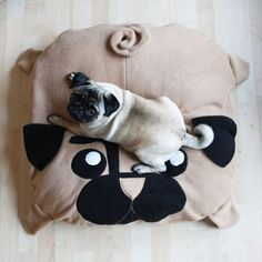 Medium Pug pillow dog bed pouf pugs cute by NaisProductsNL