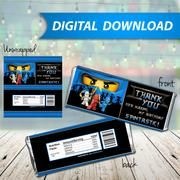 Ninjago Jay blue Candy Bar Wrappers, Hershey Bar Wrappers, party favor - PRINTABLE INSTANT DOWNLOAD