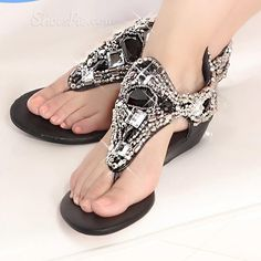 Shoespie  Rinestone Thong   Sandal From the Plus Size Fashion Community at www.VintageandCurvy.com