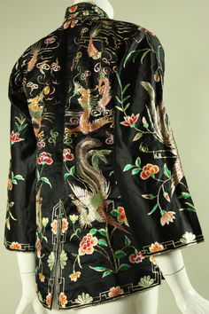 1940's Chinese Embroidered Satin Jacket at 1stdibs