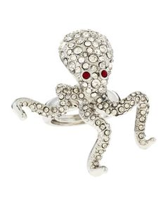 Rhinestone Pave Octopus Ring by Kenneth Jay Lane at Last Call by Neiman Marcus.
