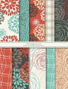 "Digital Scrapbook Paper Pack (8.5x11""-300 dpi) -- Instant Download -- 10 Digital papers -- Blooming 282"