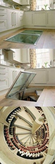 Trap door leading to a wine cellar. yes please! could be a great idea for a root cellar or pantry instead. I don't drink enough some to want a while wine cellar. Spiral Wine Cellar, Root Cellar, Beer Cellar, Sweet Home, Home Fashion, Girl Fashion, Kitchen Flooring, My Dream Home, Dream Big