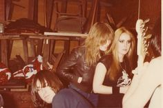 Johnny and Dee Dee Ramone with Lita Ford and Vicki Blue of the Runaways. Photo by Lindell Tate.