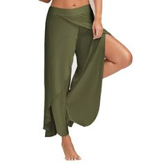 2017 Sexy Summer High Split Mid Waist Wide Leg Flowy Pants Women Female Trousers Casual Solid Beach Long Loose Harem Pants