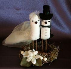 Vintage Style Bird Cake Topper Wedding Cake Topper by suebeehb