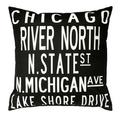 CHICAGO!! NEED this!! WANT this!!    Inspired by vintage subway signs, this 20x20 pillow celebrates Chicago. Eco-friendly cotton/linen front and solid charcoal black back fabric with zipper closure. Includes a poly-fill insert. I have many different cities available (see other designs) and a custom-design option (see separate listing). Ask about discounts for more than one pillow purchase.    Copyright 2010. West Egg Studio, a division of IL Fiore Collection, Inc. Designs may not be reproduc...