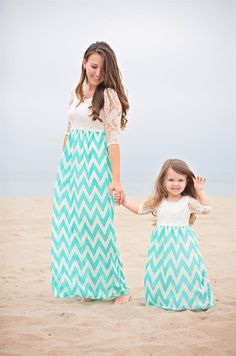 Turquoise chevron Coastal Maxi Dress mother daughter.