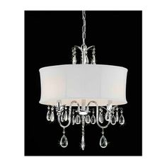 Features:  -Construction Material: Metal frame and crystal droplets with a fabric shade.  -Hardwired connection.  -Chain and wire included.  Product Type: -Drum chandelier.  Finish: -Chrome.  Material