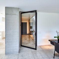 glass pivoting door with black anodized aluminium