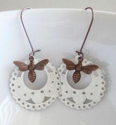 Bee Earrings Honey Bee and Ivory Filigree Hoops